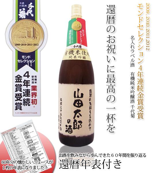 名入れラベル酒 3年連続モンドセレクション金賞受賞